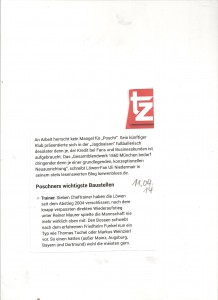 TZ München mit Löwenblueszitat zum neuen Sportdirektor Poschner 11.04.14