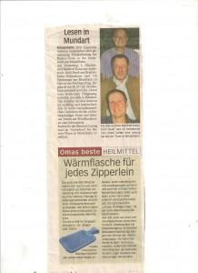 """Unterallgäuer Rundschau vom August 2012, Vorbericht auf die Lesung in Mindelheim, """"wärmstens"""" empfohlen!"""