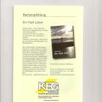 """In der Maiausgabe 2015 empfiehlt die KEG Schwaben mein 2012 erschienenes """"Ein Fach Leben""""  auf der Rückseite des Magazins """"KEG-Forum"""""""