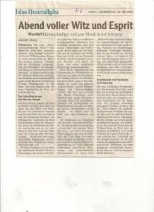 Der Pressebericht zu unserer Lesung am 4.Mai (von Josef Hölzle)