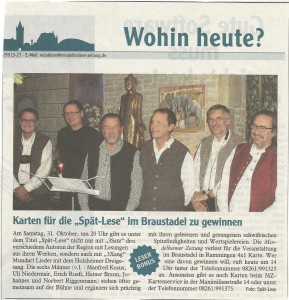 Vorbericht auf die Aufführung in Rammingen am 31.10.2015