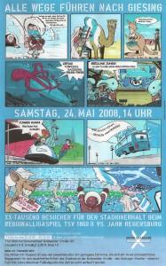 """Die geniale Einladung zum X-Tausend-Spiel gegen Jahn Regensburg 2008, mit einer links unten versteckten """"Liebeserklärung"""" an Rot ..."""