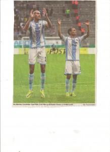"""""""Riesenbaby"""" Mulic (2,04 m) und Claasen, die beiden Torschützen beim 2:0 gegen Hoffenheim in der ersten Pokalrunde"""